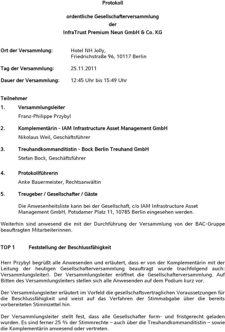 Protokoll Ordentliche Gesellschafterversammlung Der Infratrust Premium Neun Gmbh Co Kg Friedrichstrasse 96 Berlin Pdf Free Download