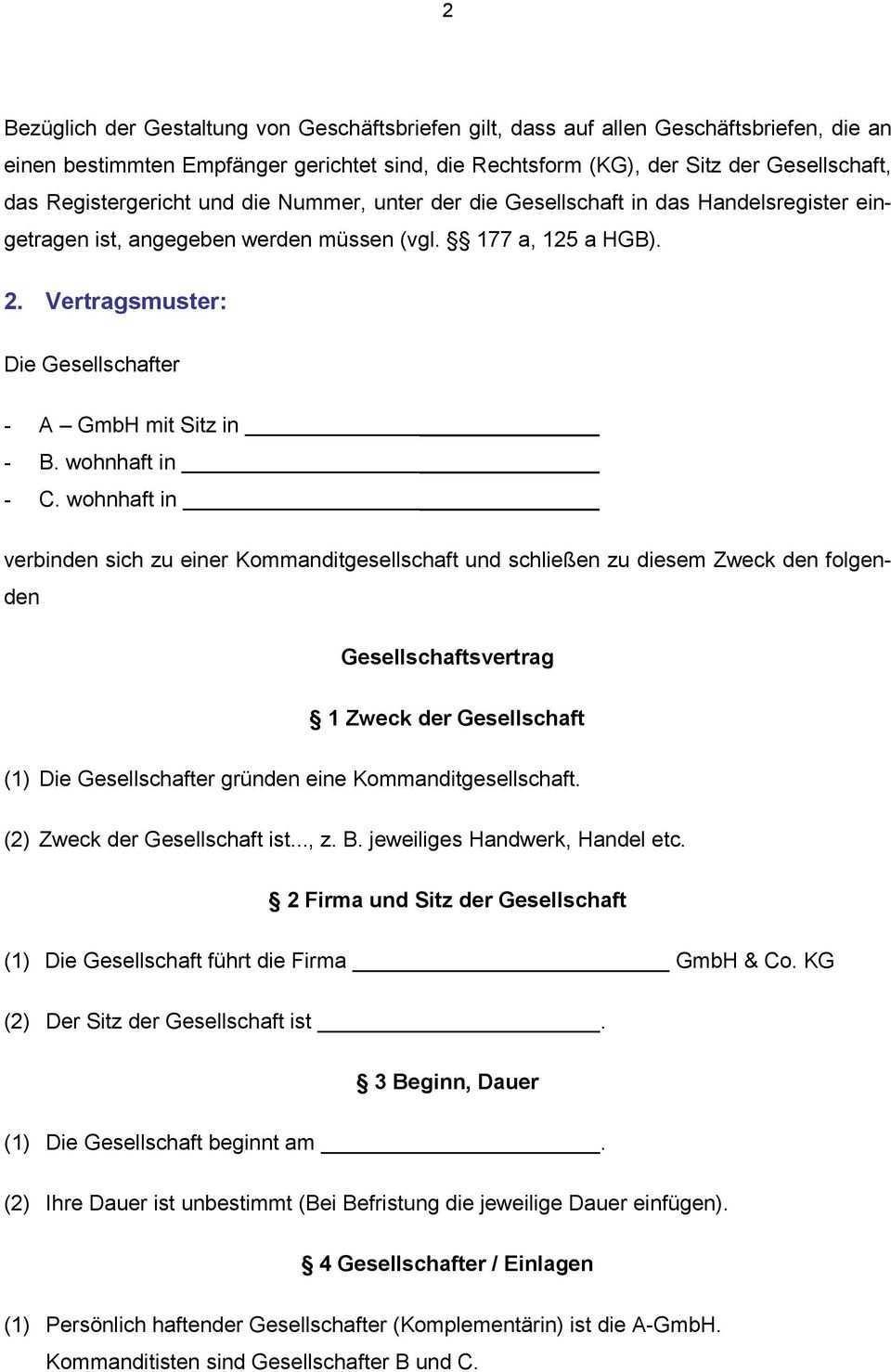 Gesellschaftsvertrag Einer Gmbh Co Kg Pdf Free Download