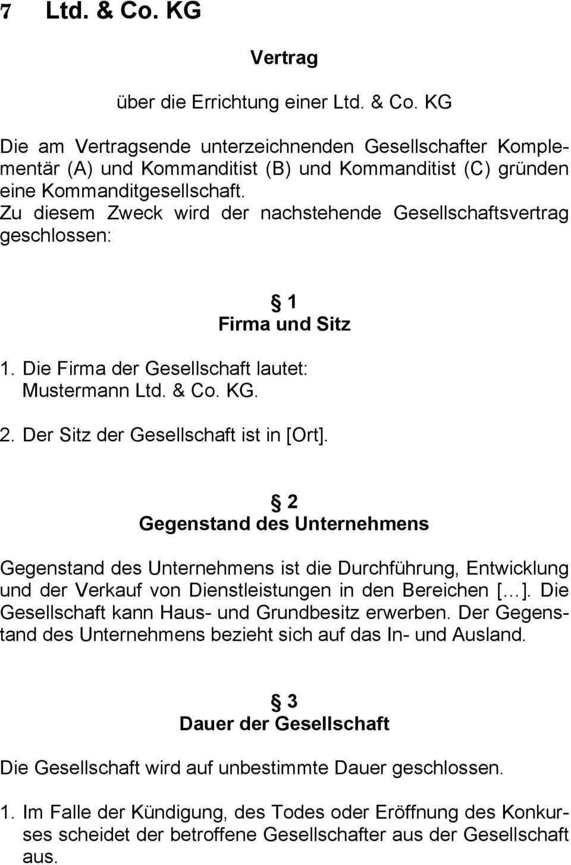 Vertrag Uber Die Errichtung Einer Ltd Co Kg Pdf Free Download