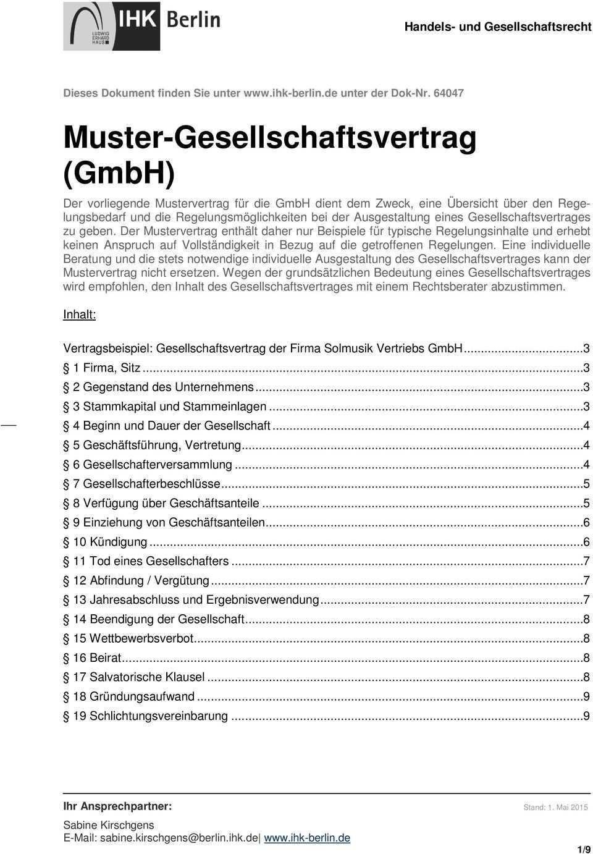 Muster Gesellschaftsvertrag Gmbh Pdf Kostenfreier Download