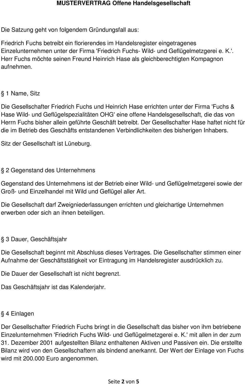 Muster Gesellschaftsvertrag Offene Handelsgesellschaft Ohg Pdf Free Download