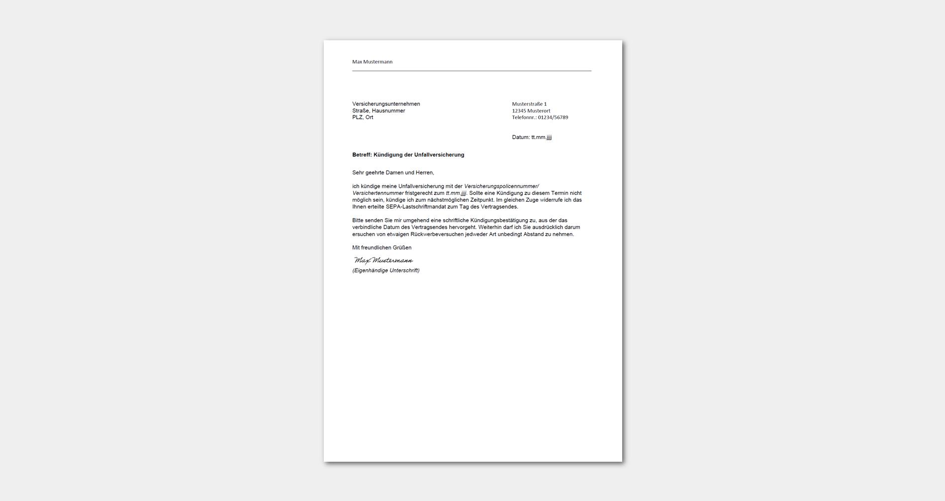 Unfallversicherung Kundigen Vorlage Muster Buero Info