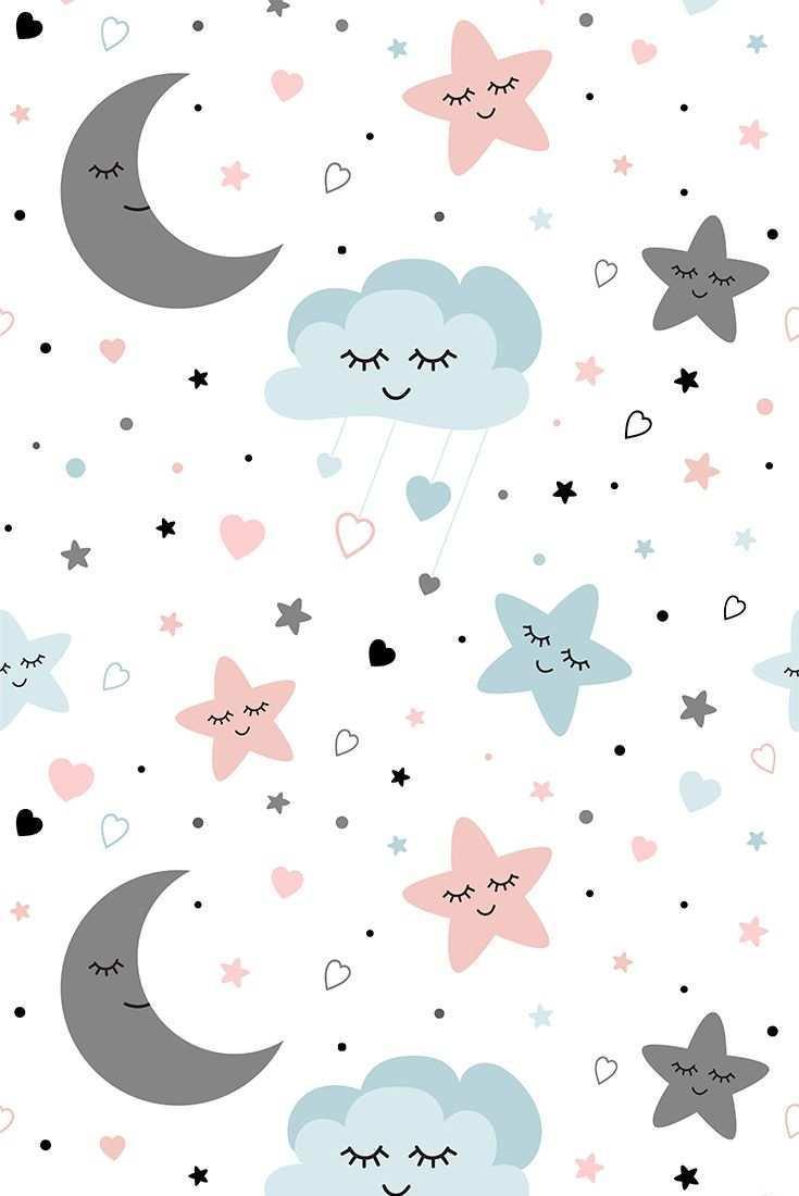 Stars Moon Baby Patterns Icons Lukisan Dinding Kartu Lucu Kertas Dinding