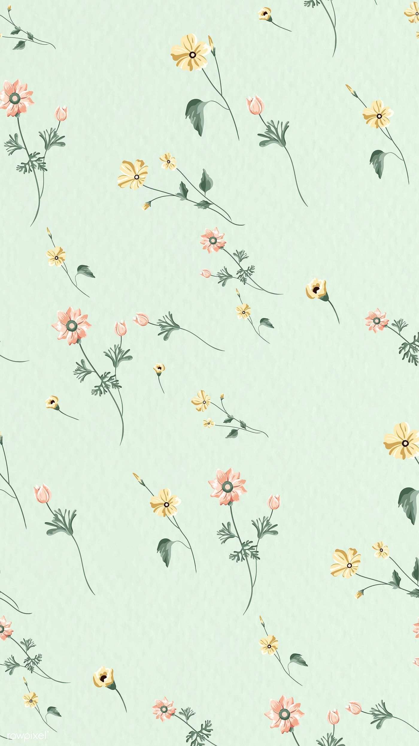 Download Premium Vector Of Blooming Flower Seamless Pattern On A Green Vintage Flowers Wallpaper Pastel Background Wallpapers Mint Green Wallpaper Iphone