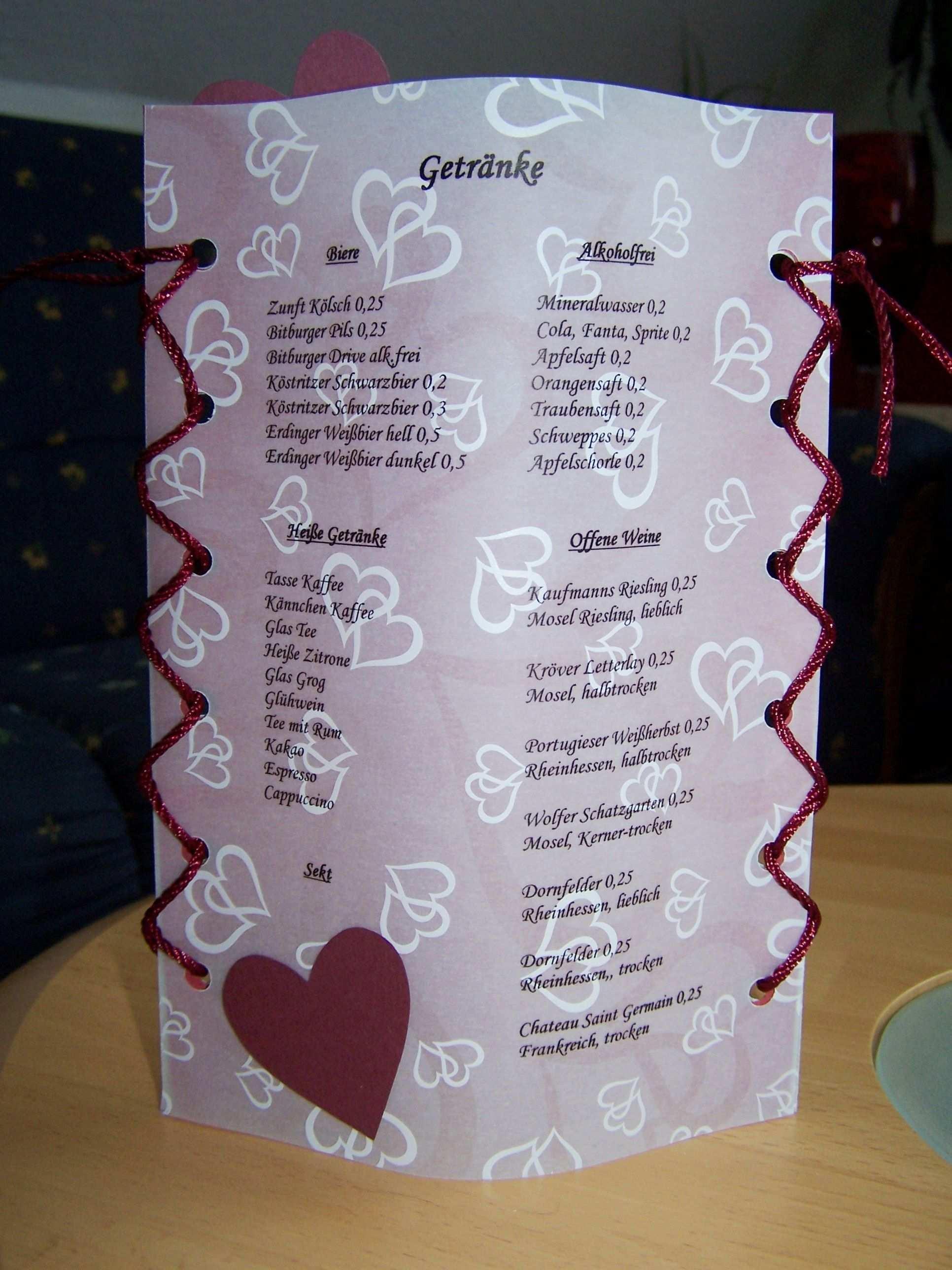 Idee Fur Menu Und Getrankekarten Zur Hochzeit Creadoo Com Getrankekarte Hochzeit Getranke Karte Getranke