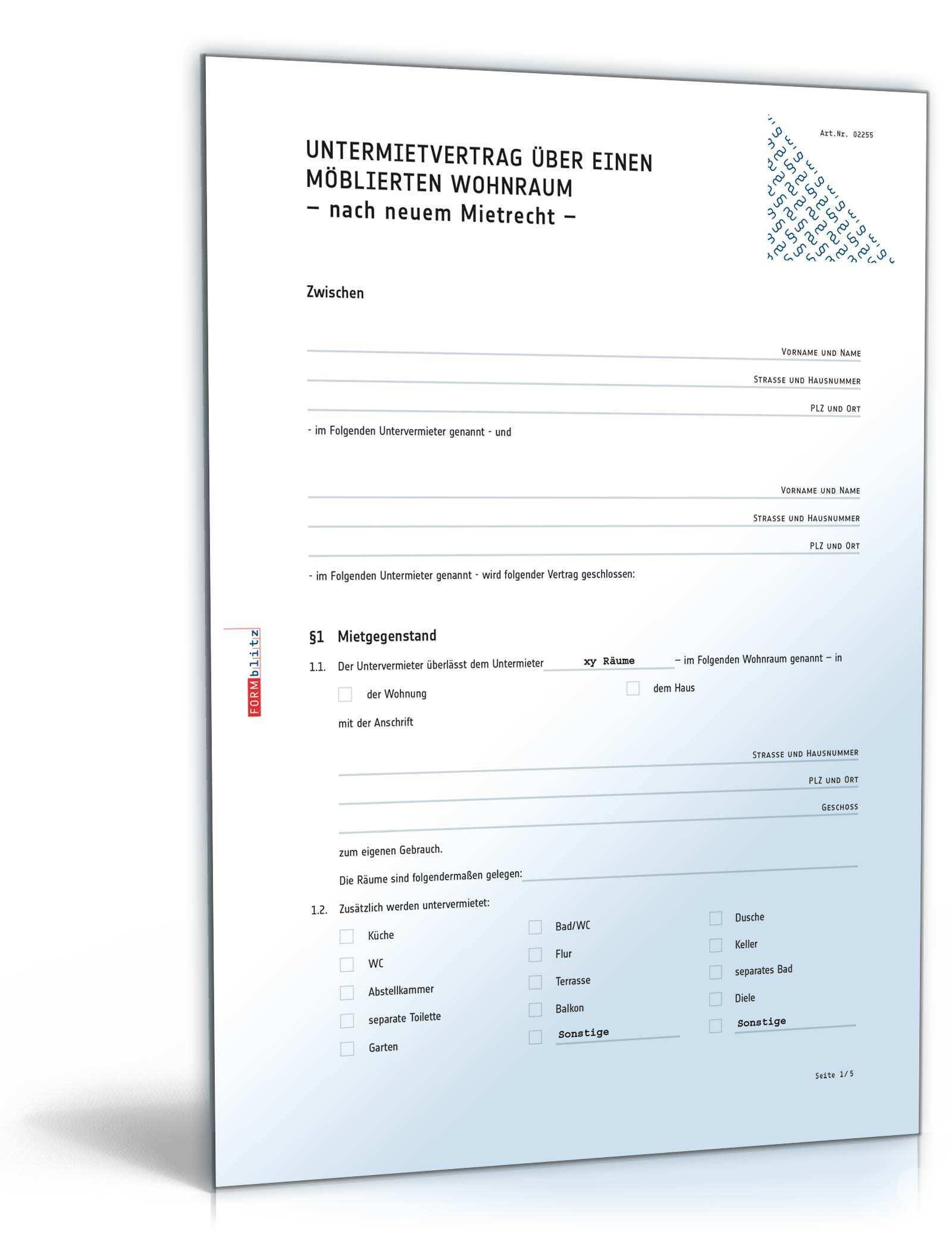 Untermietvertrag Moblierte Wohnung Muster Zum Download
