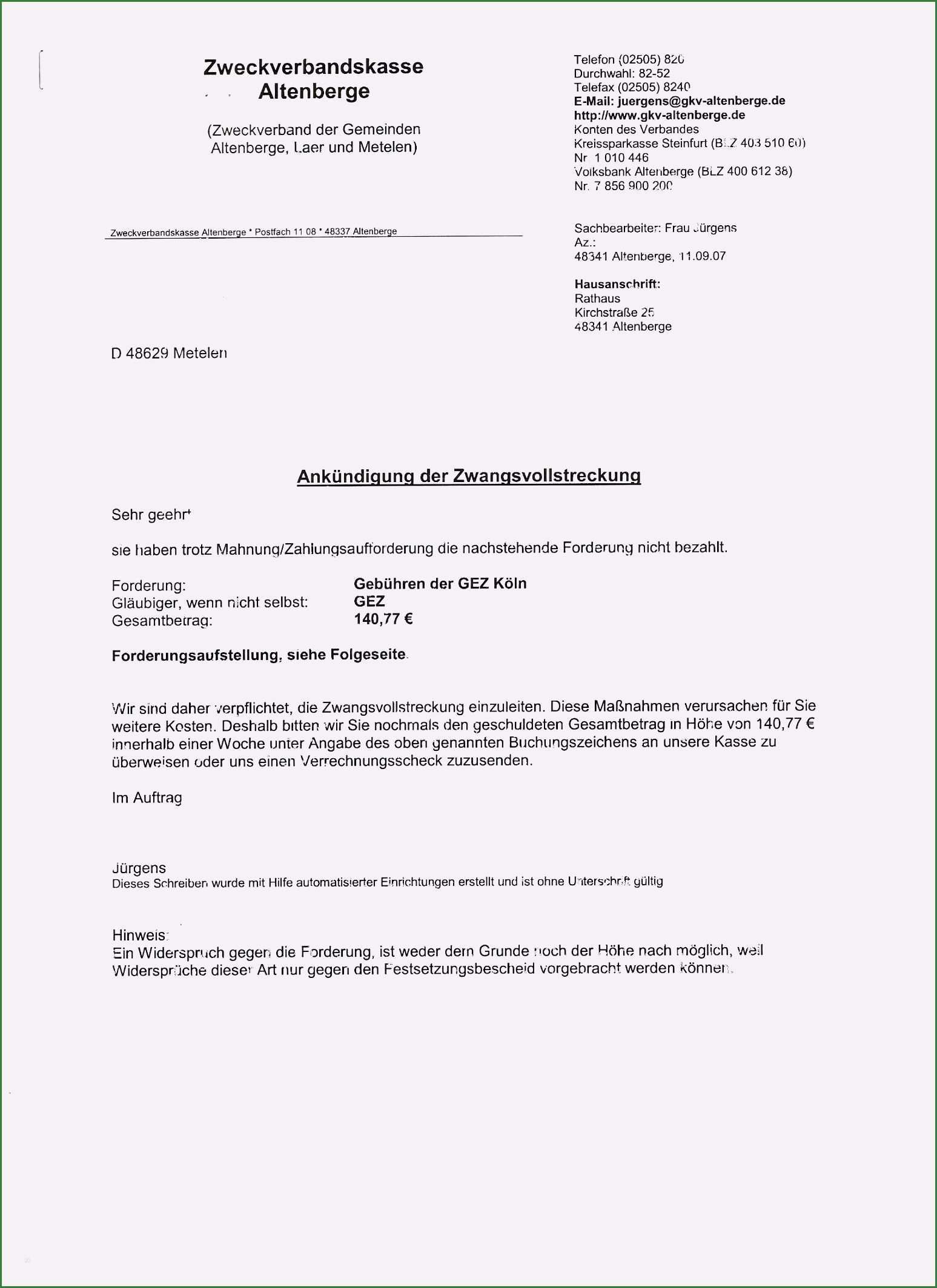 19 Hervorragend Festsetzungsbescheid Gez Widerspruch Vorlage Fur 2020 Zwangsvollstreckung Vorlagen Microsoft Word