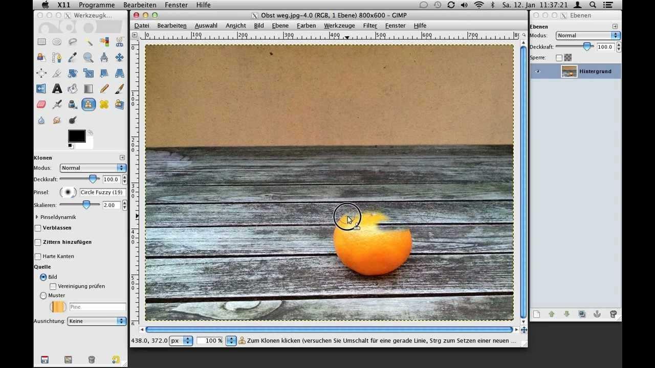 Gimp Tutorial Bildelemente Entfernen Mit Dem Klon Werkzeug Youtube