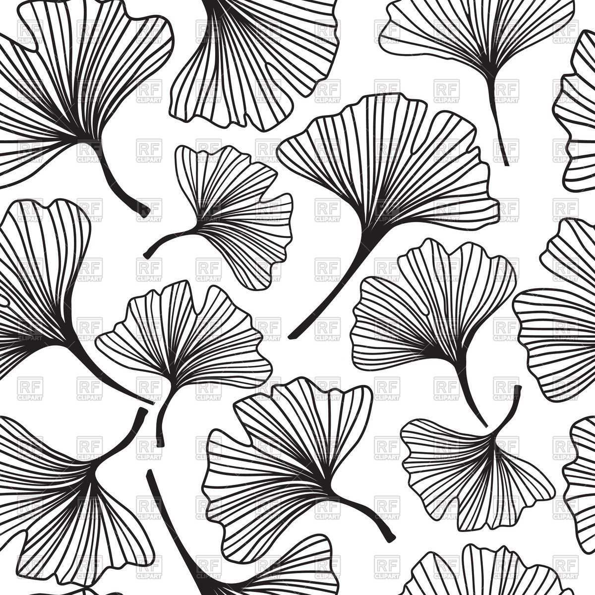 Seamless Floral Background With Sketch Of Ginkgo Biloba 46010 Backgrounds Textures Abstract Download Royalty Flower Drawing Leaf Drawing Floral Background