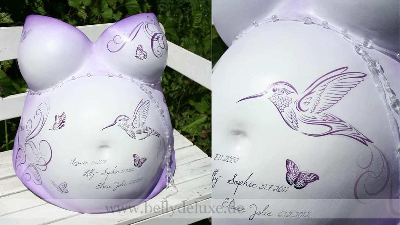 Gipsabdruck Babybauch Mit Bemalung Kolibri Schmetterlinge Lila Violett Flieder Jpg 1 212 683 Pixel Babybauch Gipsabdruck Gipsabdruck Belly Casting