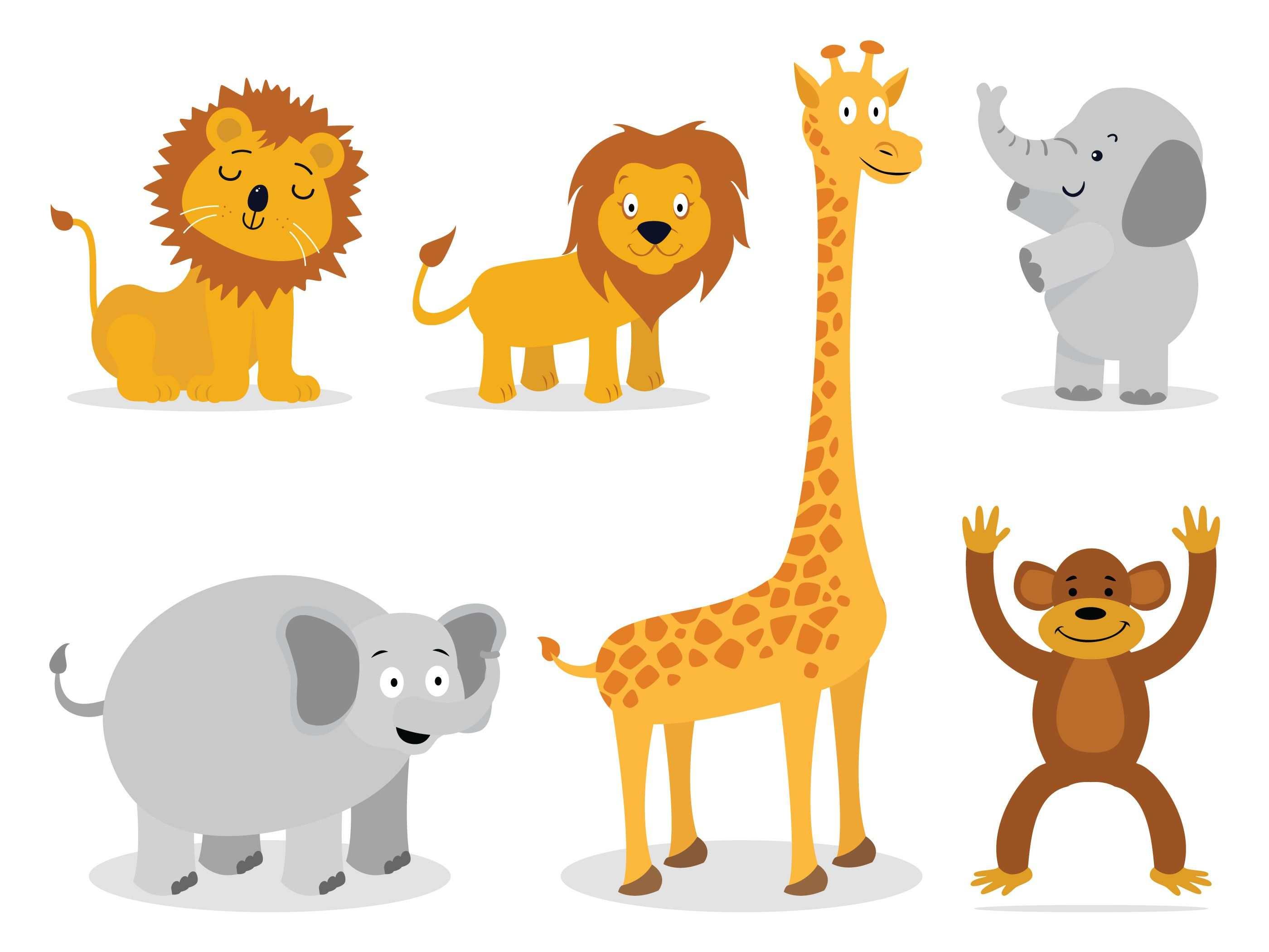 Tierische Vektoren Lowe Affe Giraffe Elefant Giraffe Affen Tierbilder
