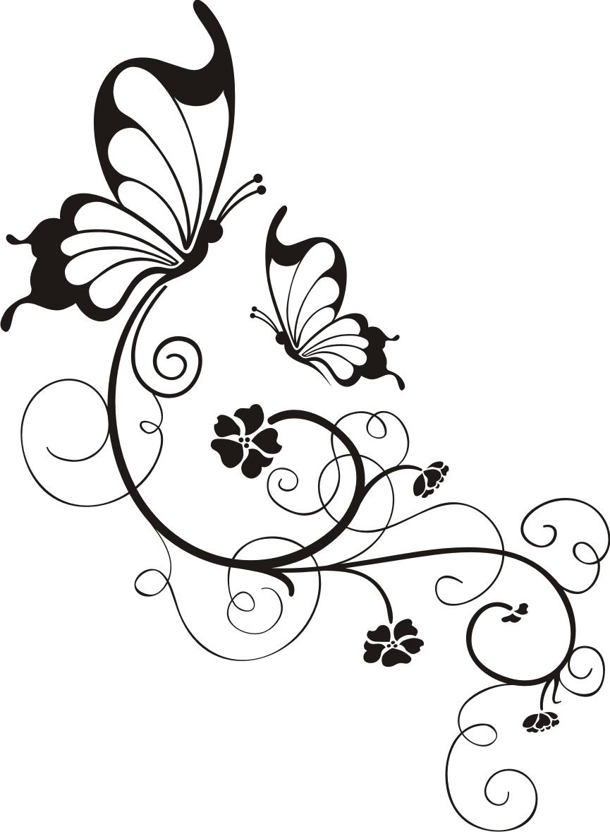 Schmetterling Mit Blumenornament Wandtattoo Wandsticker Und Wandaufkleber Deine Wandtattoos De Wood Burning Patterns Butterfly Art Art