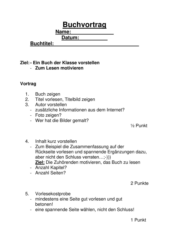 Buchvortrag Aufbau Gliederung Unterrichtsmaterial Im Fach Deutsch Bucher Buchvorstellung Buchtitel