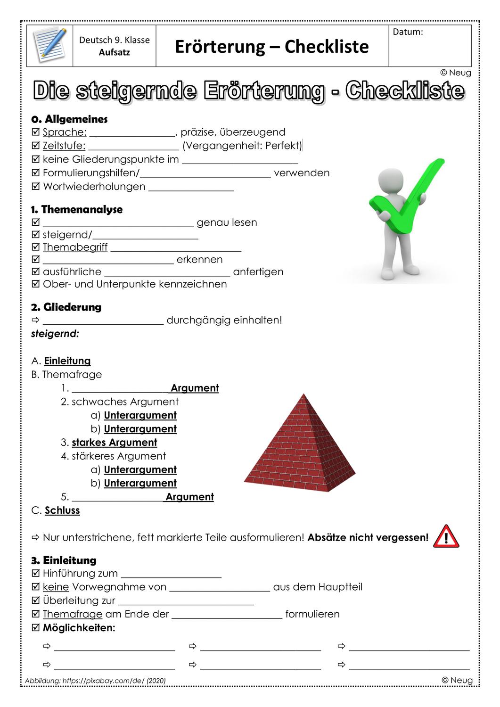 Ab Checkliste Eingliedrige Erorterung Unterrichtsmaterial Im Fach Deutsch Lehrer Planer Genaues Lesen Realschule Bayern