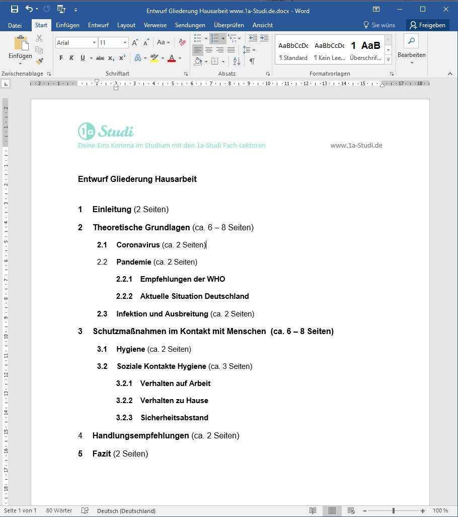 Beispiele Hausarbeit Vorlagen Muster Bwl Pflege Soziologie