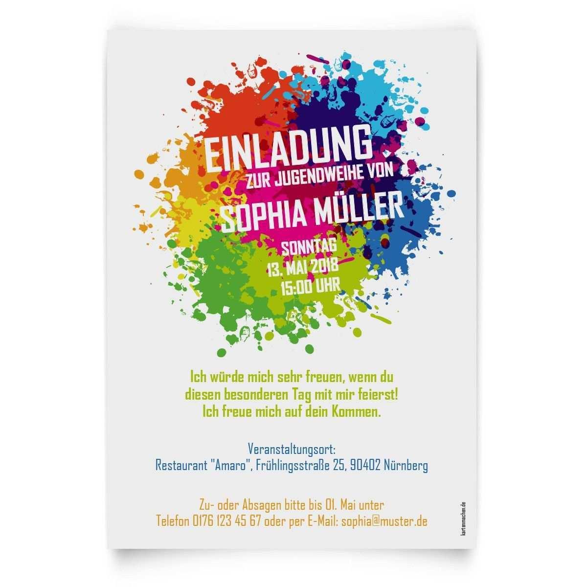 Jugendweihe Einladungskarten Farbkleckse Einladungskarten Konfirmation Einladungen Jugendweihe Einladungskarten