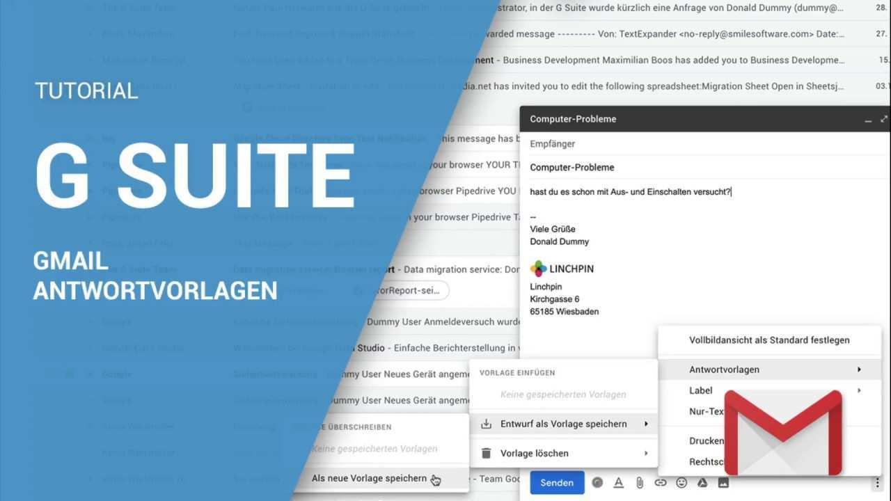 Google G Suite Tutorial Antwortvorlagen In Gmail Erstellen Youtube