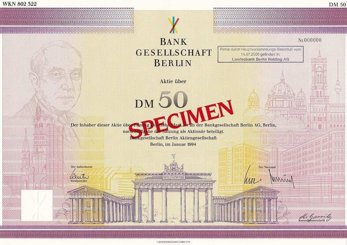 Bankgesellschaft Berlin Aktie 50 Dm 1 1994 Muster