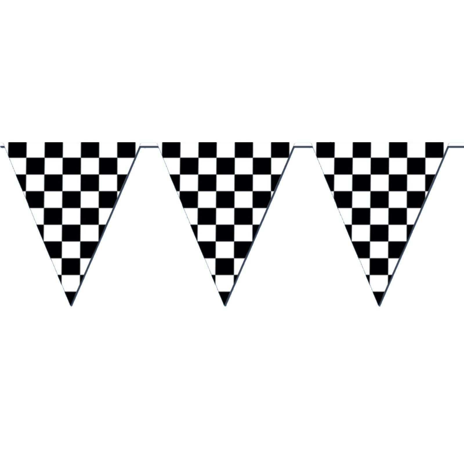 120 Checkered Outdoor Pennant Banner Go Kart Party Kindergeburtstag Kinder