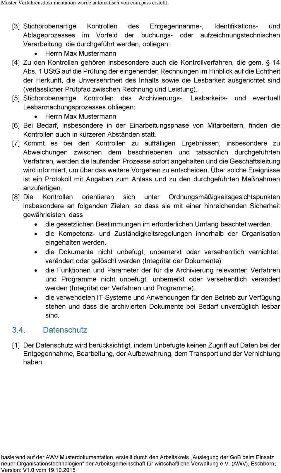 Muster Verfahrensdokumentation Zur Belegablage Pdf Free Download