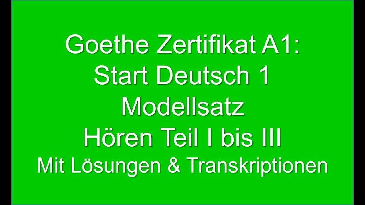Goethe Zertifikat A1 Start Deutsch 1 Modellsatz German Listening Exam A1 Youtube