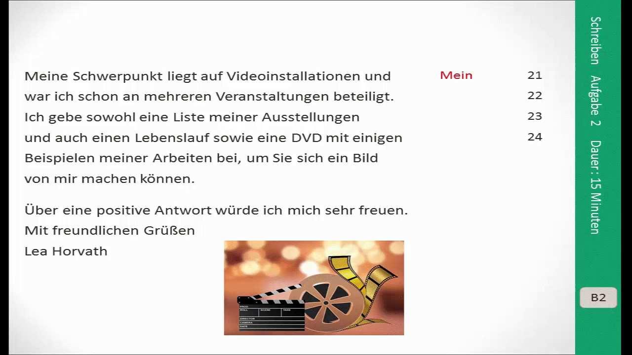 Prufungsvorbereitung Goethe Zertifikat B2 Schreiben Youtube
