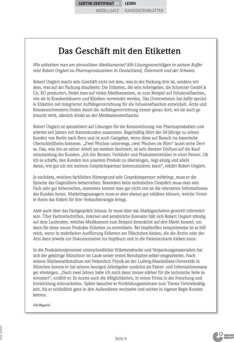 Goethe Zertifikat C1 Modellsatz Pdf Kostenfreier Download