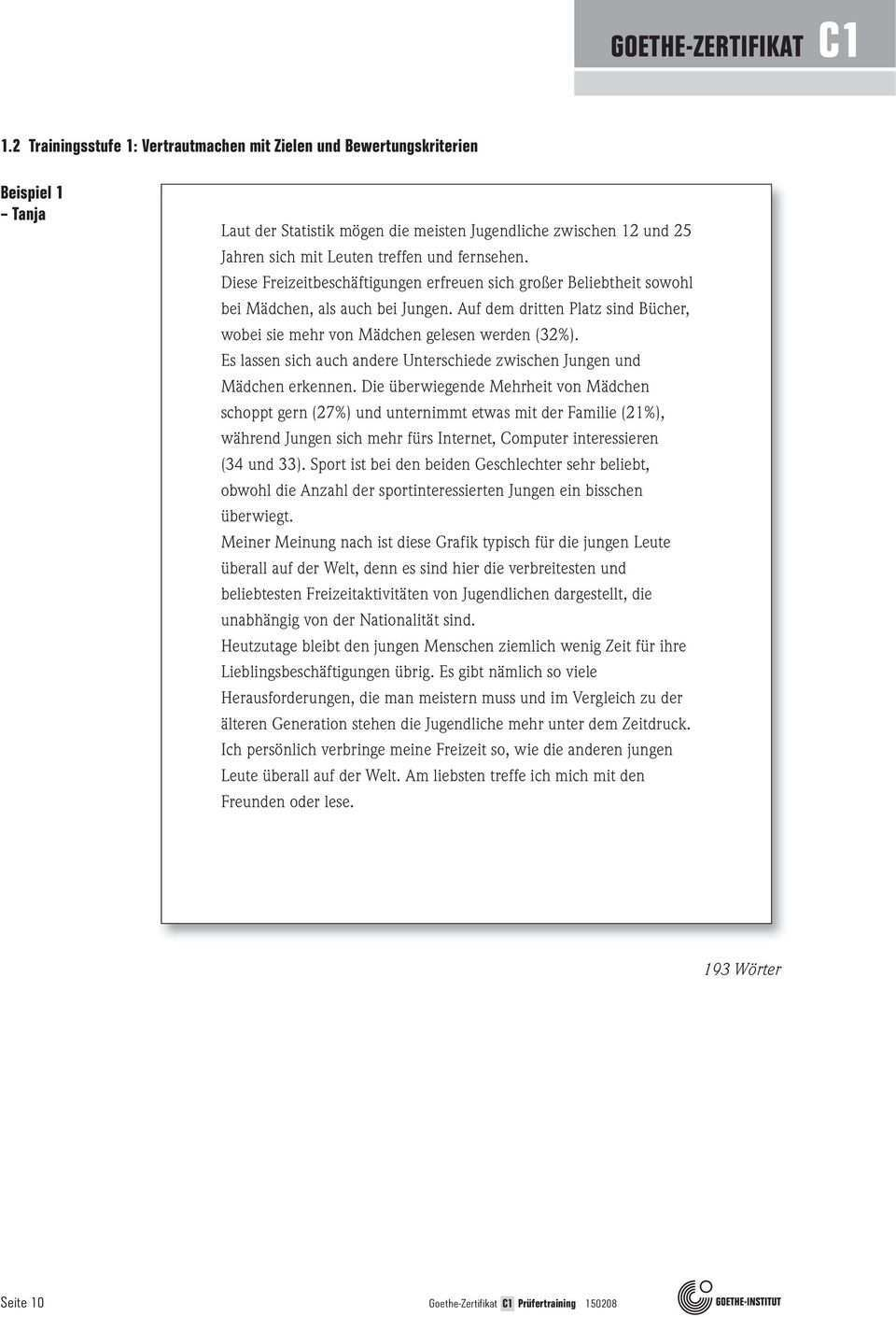 Goethe Zertifikat C1 Trainingsmaterial Fur Prufende Schriftlich Mundlich B1 B2 C1 C2 Pdf Free Download