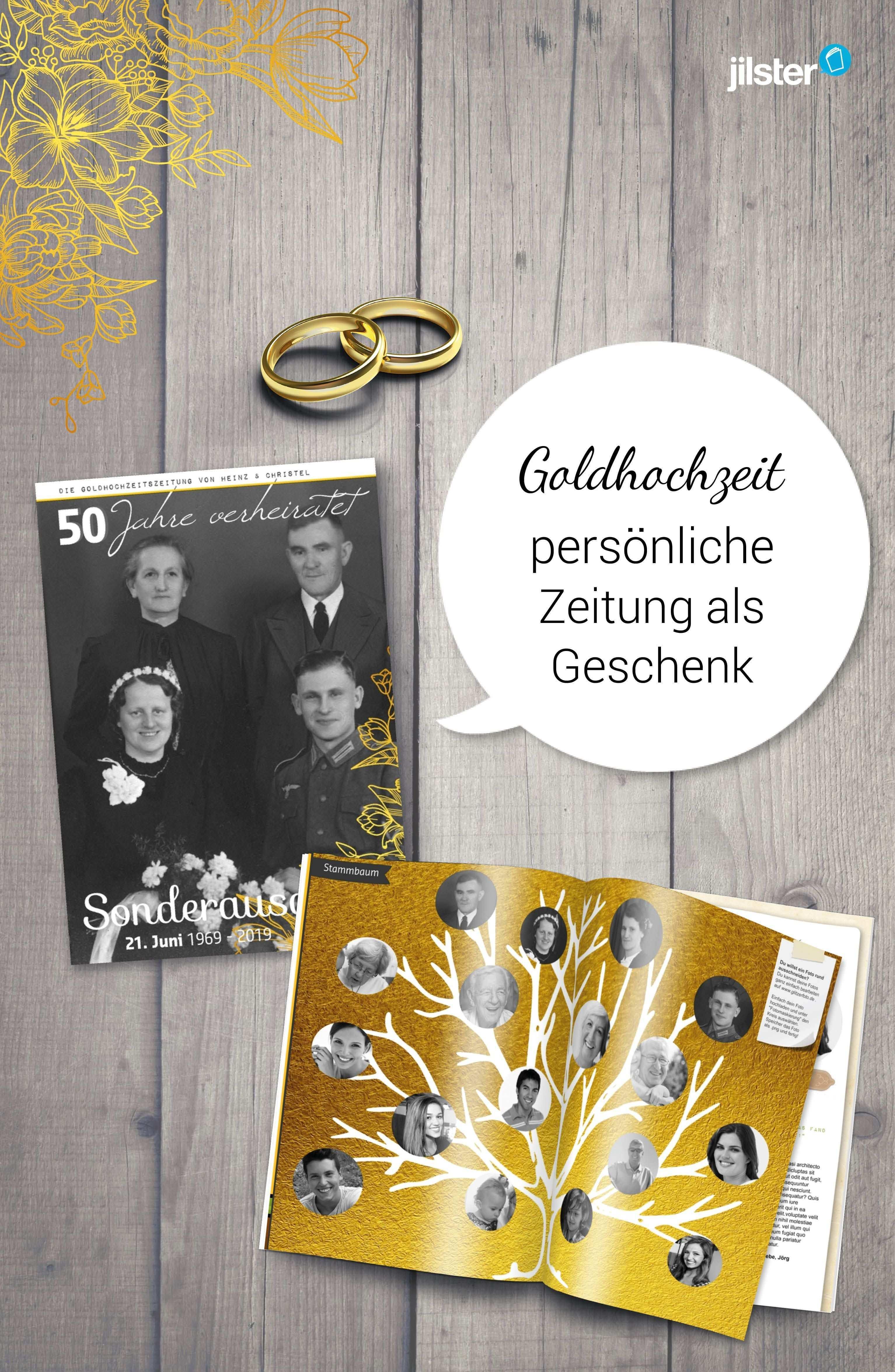 Geschenk Zur Goldenen Hochzeit Zeitschrift Gestalten Geschenke Zur Goldenen Hochzeit Goldene Hochzeit Hochzeitszeitung Gestalten