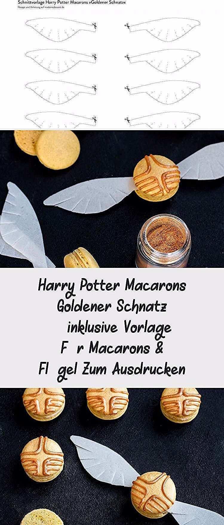 Anleitung Rezept Harry Potter Macarons Goldener Schnatz Inklusive Vorlage Fur Macarons Flugel Zum Ausdrucken Madame Dessert In 2020 Recipes Cookie Recipes Food