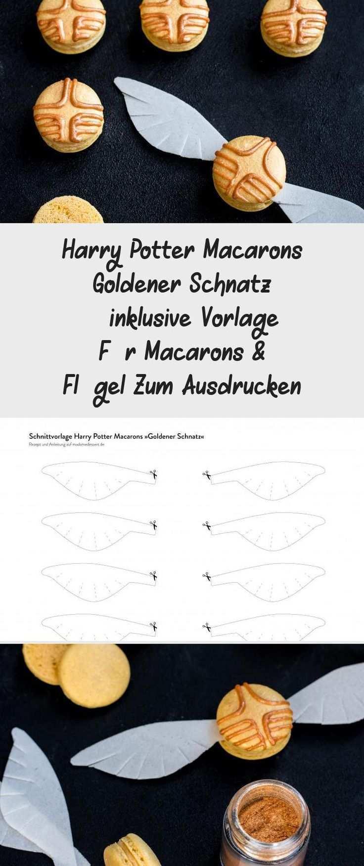 Anleitung Rezept Harry Potter Macarons Goldener Schnatz Inklusive Vorlage Fur Macarons Flugel Zum Ausdrucken Madame D Macarons Goldener Schnatz Schnatz
