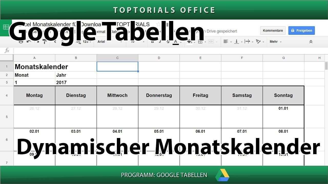 Dynamischen Monatskalender Erstellen Download Google Tabellen Spreads Monatskalender Tabelle Kalender