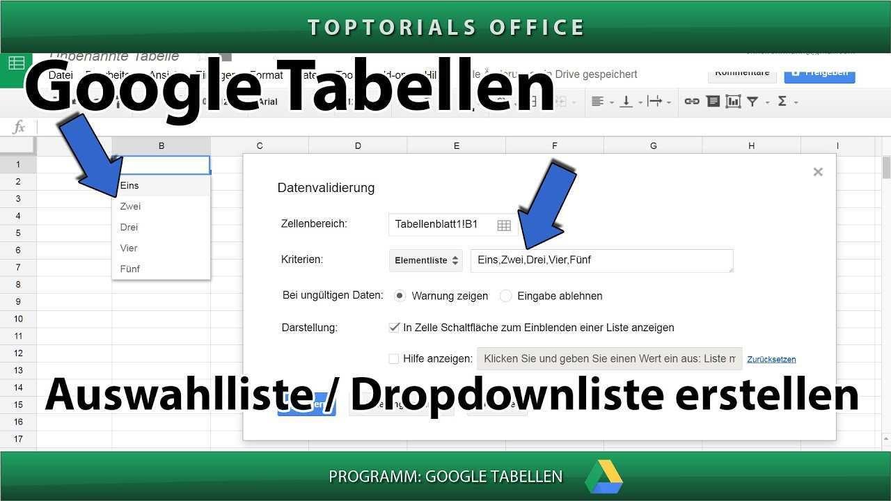 Auswahlliste Erstellen Zellendropdown Google Tabellen Toptorials