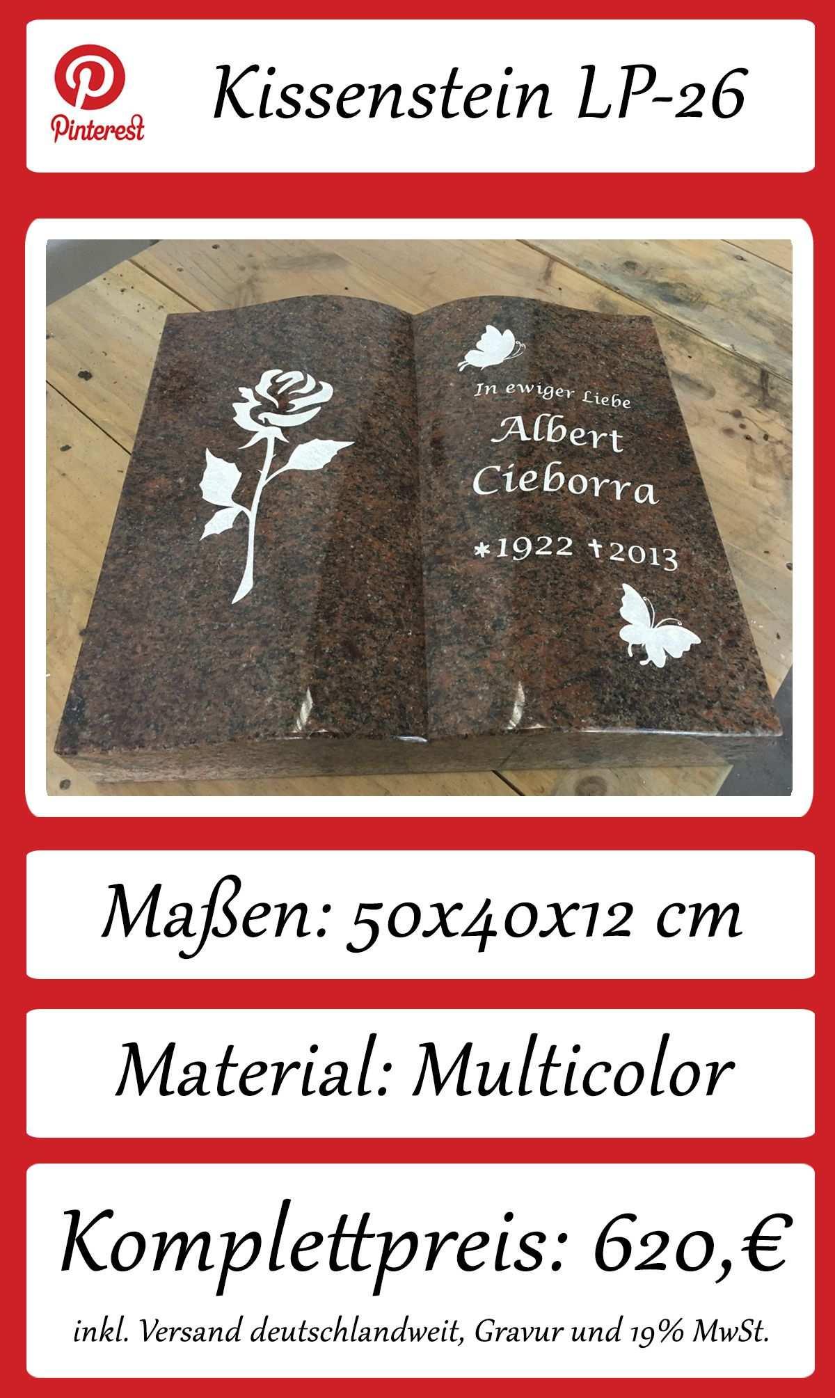 Grabstein Buch Aus Naturstein Multicolor Kissenstein Inkl Beschriftung Alle Texte Und Ornamente Fur Urnengrab Massen 50x40x12 Steine Grabstein Grabplatte