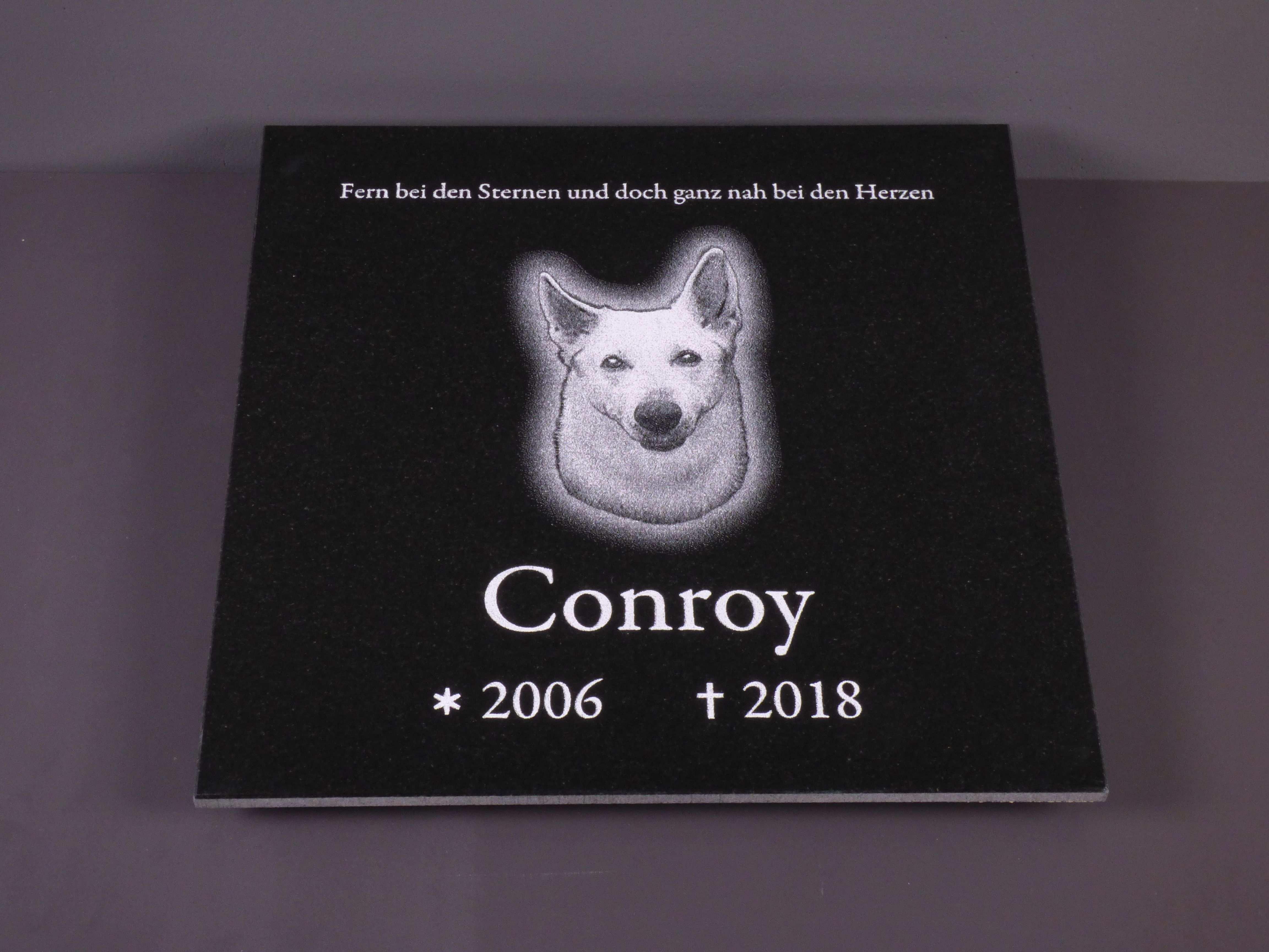 Tiergrabstein Tiergrabplatte Hund 40x40x1 Cm Aus Naturstein Indian Black Inkl Fotobearbeitung Und Beschriftung Foto Und Textgravu Tiere Gedenksteine Hunde