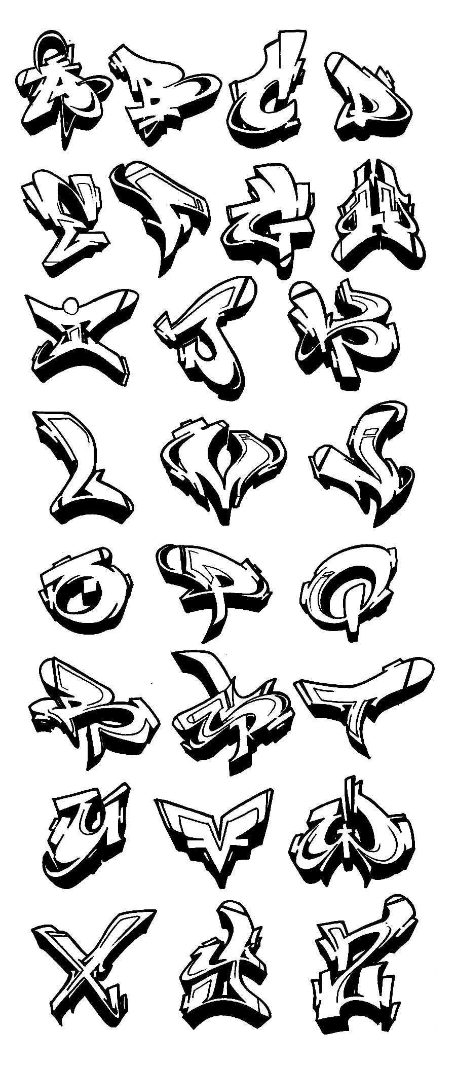 Graffiti Alphabet Wildstyle A Z 3d Graffiti Collection Graffiti Art Letters Graffiti Alphabet Graffiti Alphabet Styles