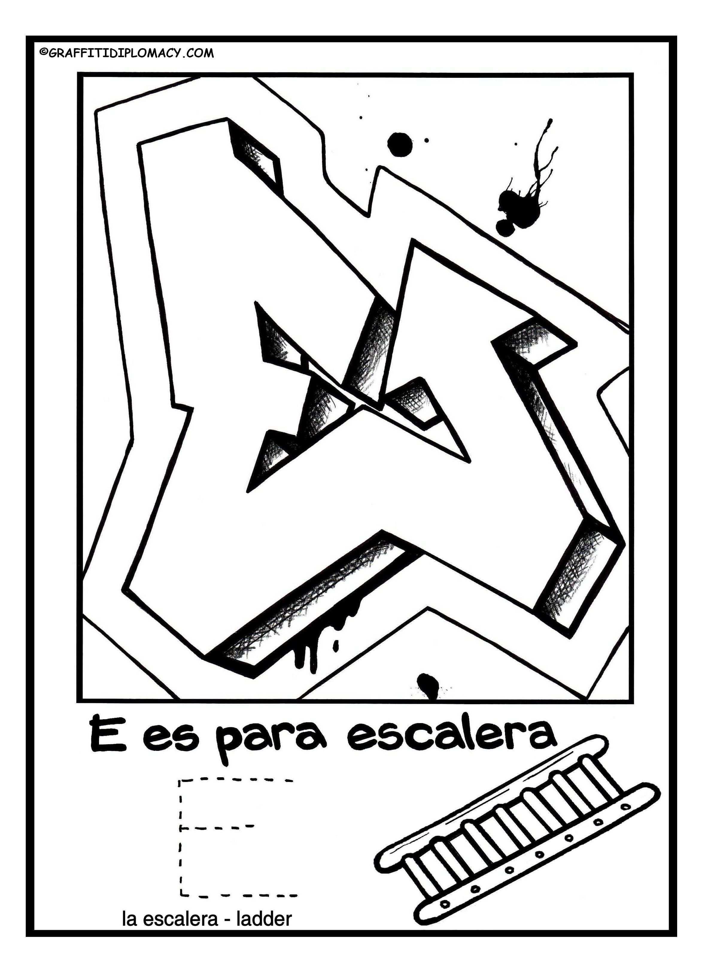 E For Website Spanisg Alphabet Coloring Book Graffiti Diplomacy2 Jpg 2346 3246 Graffiti Lettering Graffiti Alphabet Lettering Alphabet
