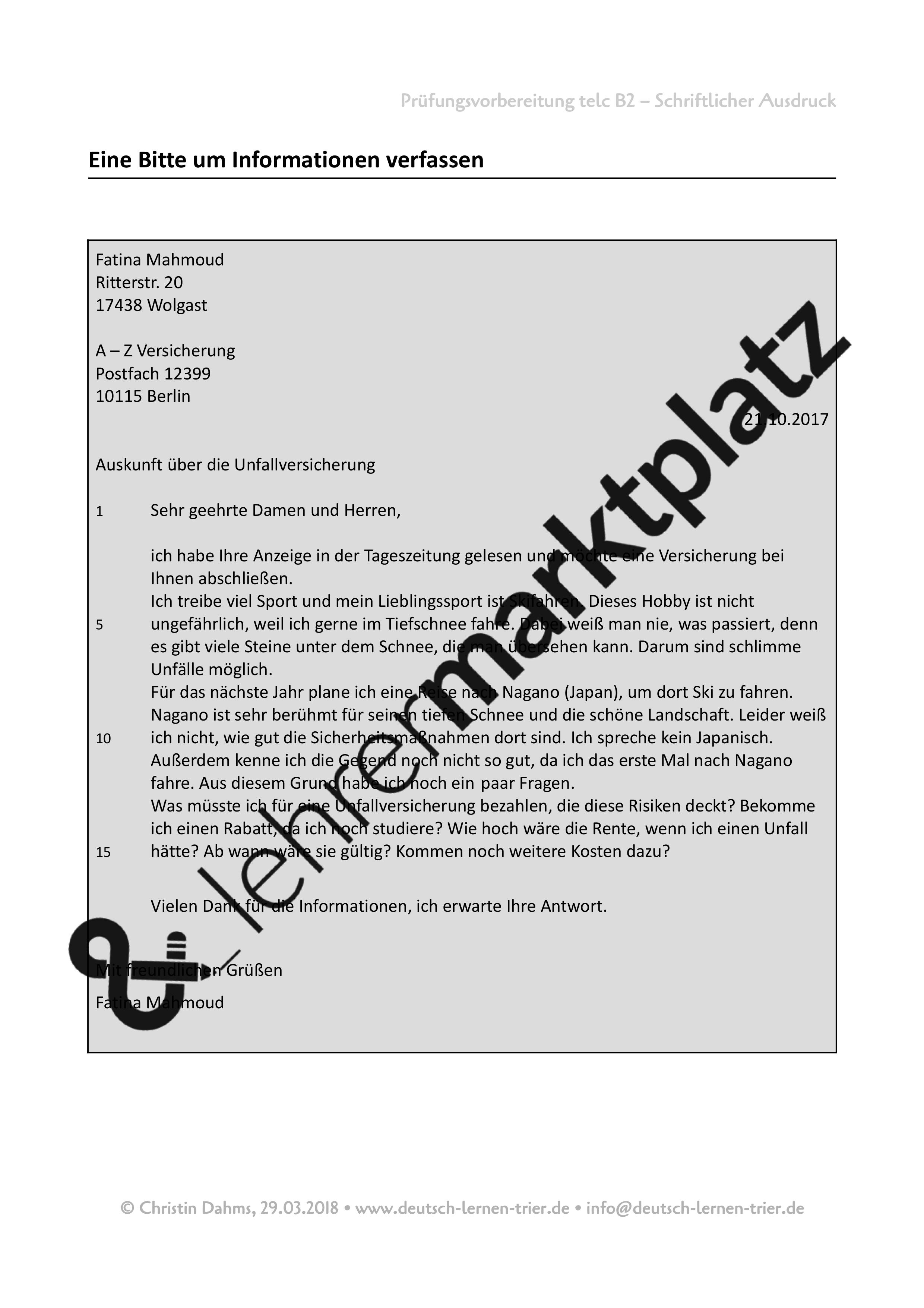 B2 Telc Schriftlicher Ausdruck Bitte Um Informationen Muster Unterrichtsmaterial Im Fach Daz Daf Deutsch Lernen Ausdrucke Briefe Schreiben