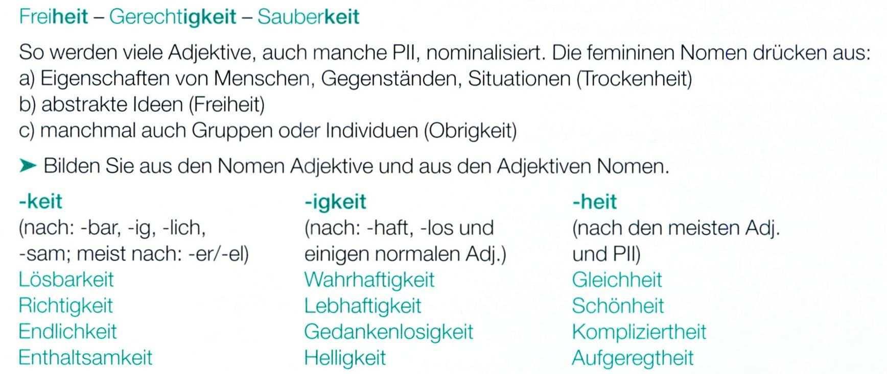 Nominalisierung Von Adjektiven Adjektive Nominalisierung Lernen