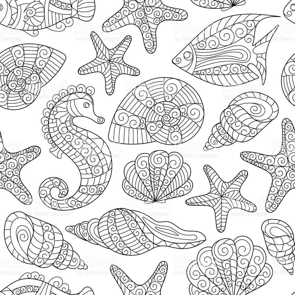 Black And White Seamless Pattern For Coloring Book Sea Shells Muster Zeichnung Wenn Du Mal Buch Grafische Muster