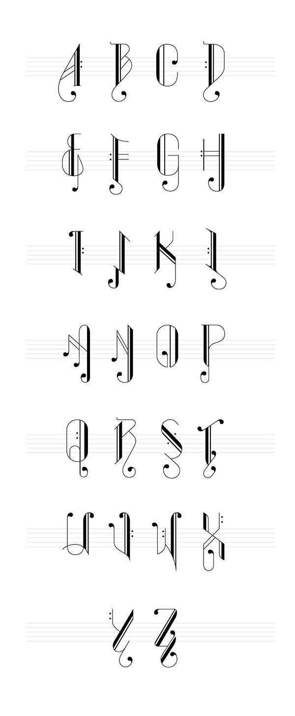 A Set Of Typography Inspired Of Music Notes The Words Are Form Up Of Overlapped Alphabets If An Alphabet Represents A Mus Worter Lettering Schriften Alphabet