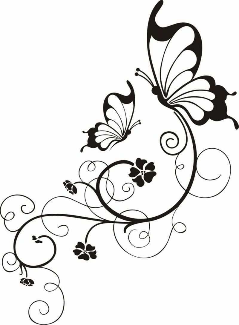 Blumenranken Tattoo 20 Schone Vorlagen Fur Diverse Korperstellen Butterfly Drawing Wood Burning Patterns Embroidery Patterns