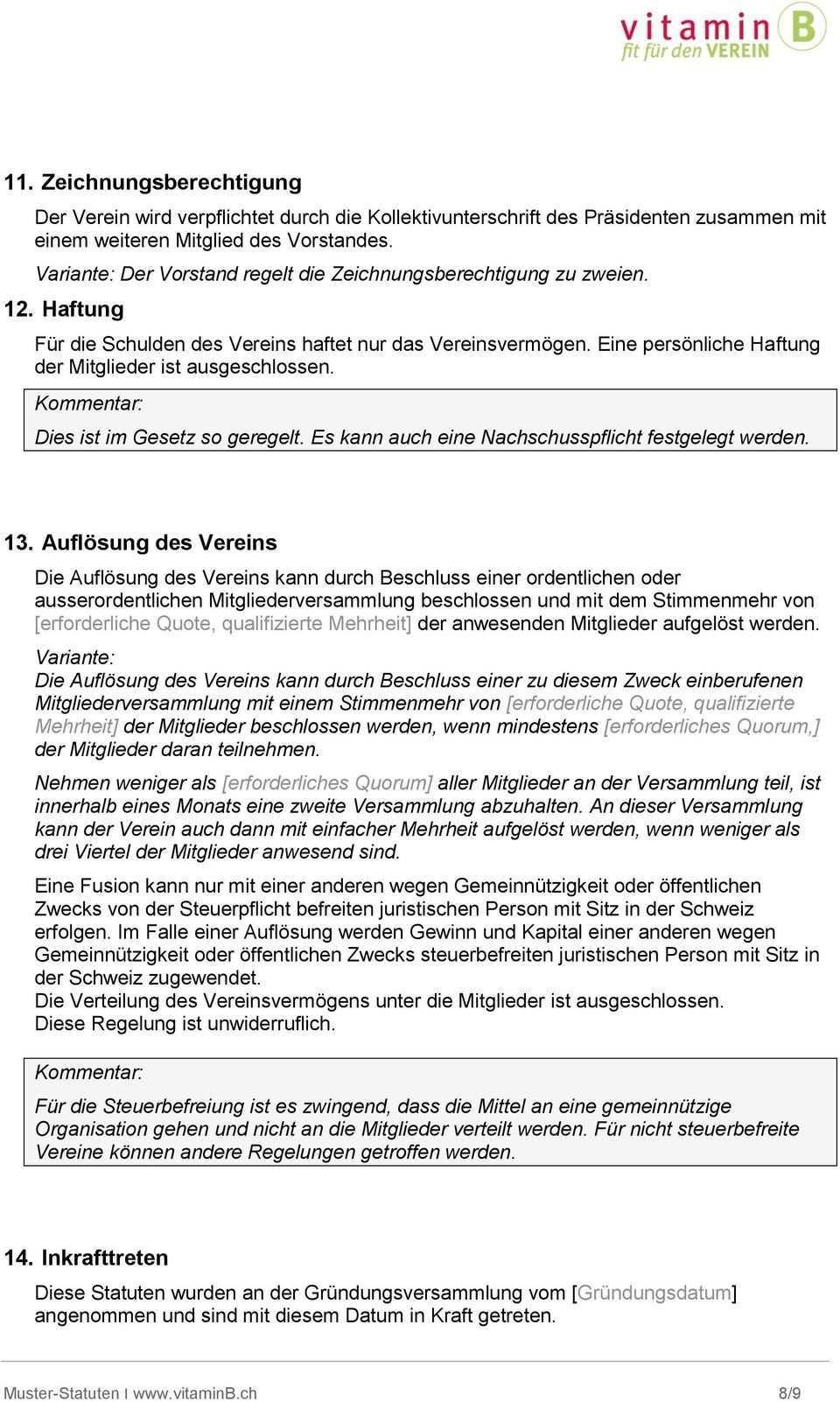 Musterstatuten Fur Vereine Pdf Kostenfreier Download