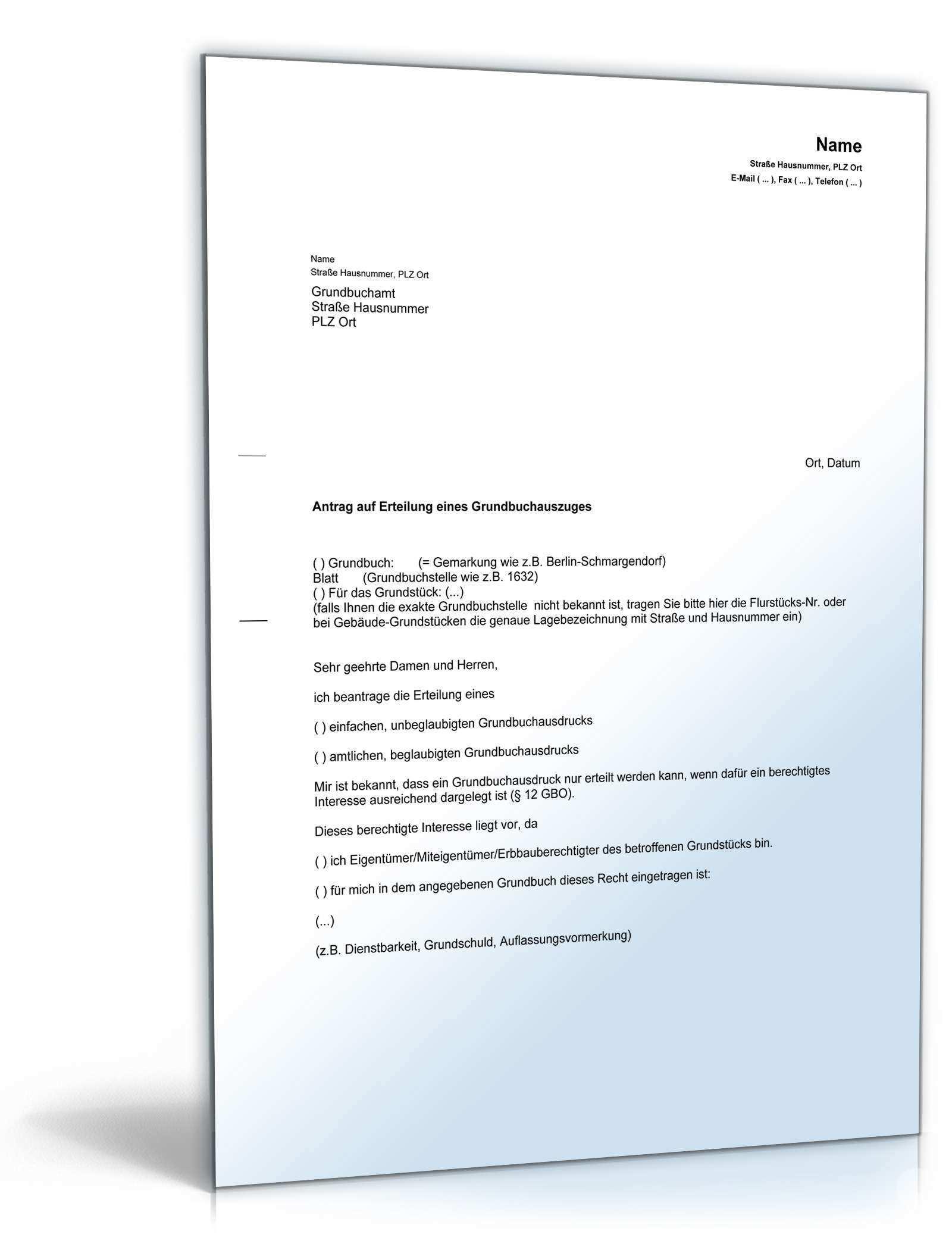 Antrag Auf Erteilung Eines Grundbuchausdrucks Muster Zum Download