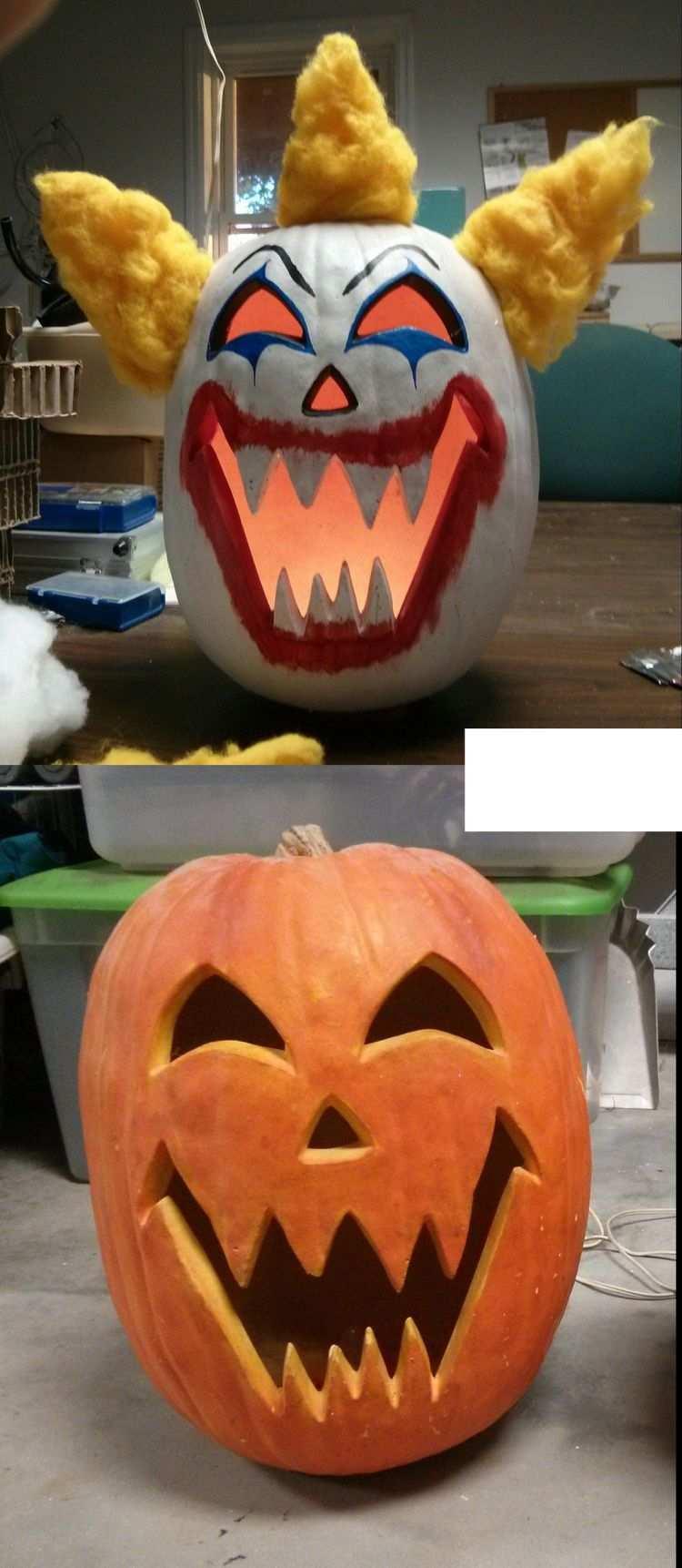 Gruseliges Kurbisgesicht Clown Malen Selber Machen Gruselige Kurbisse Kurbisgesichter Halloween Kurbis Deko