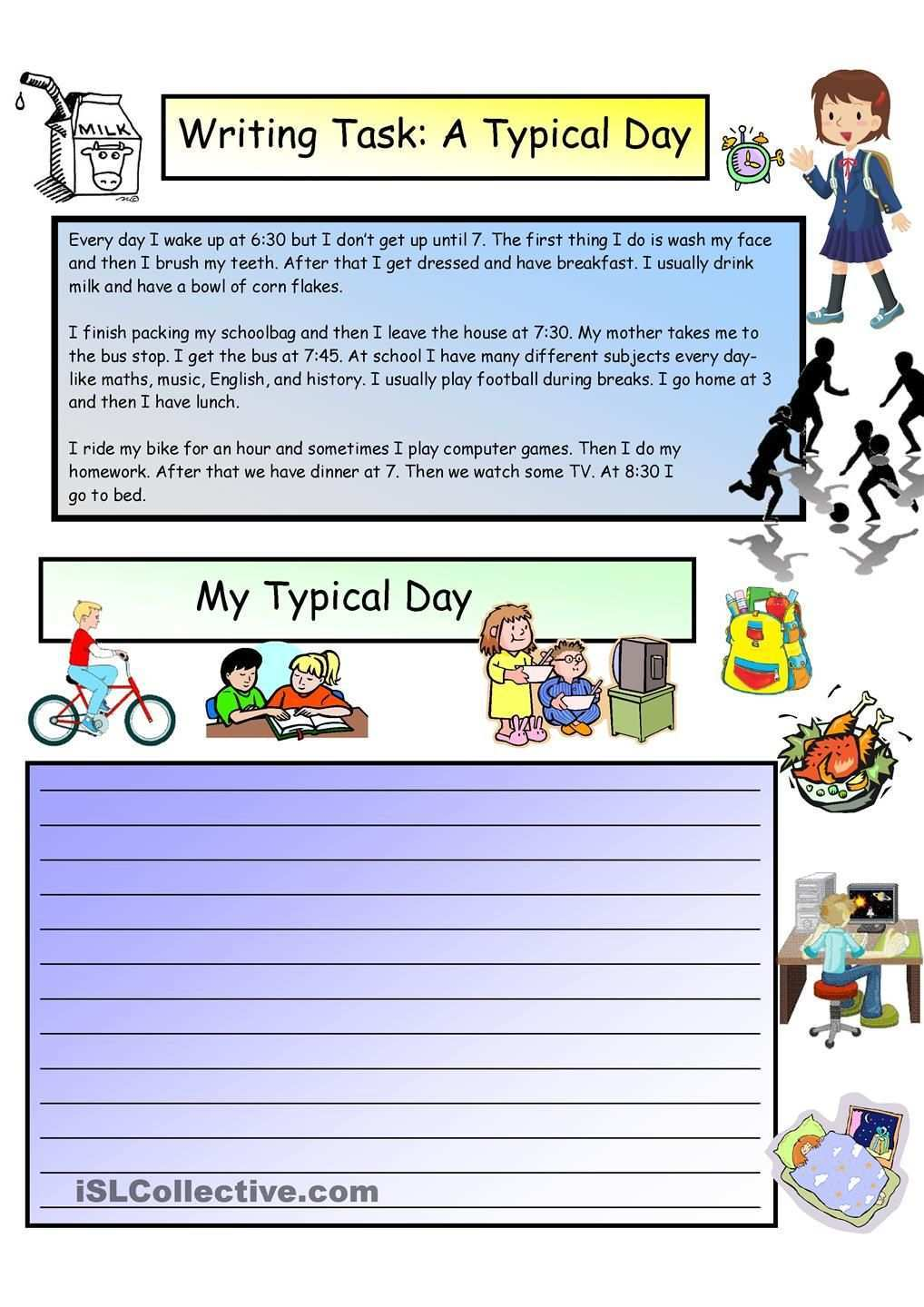 Creative Writing A Typical Day 3 A1 Level Creative Writing Worksheets Creative Writing Writing Worksheets