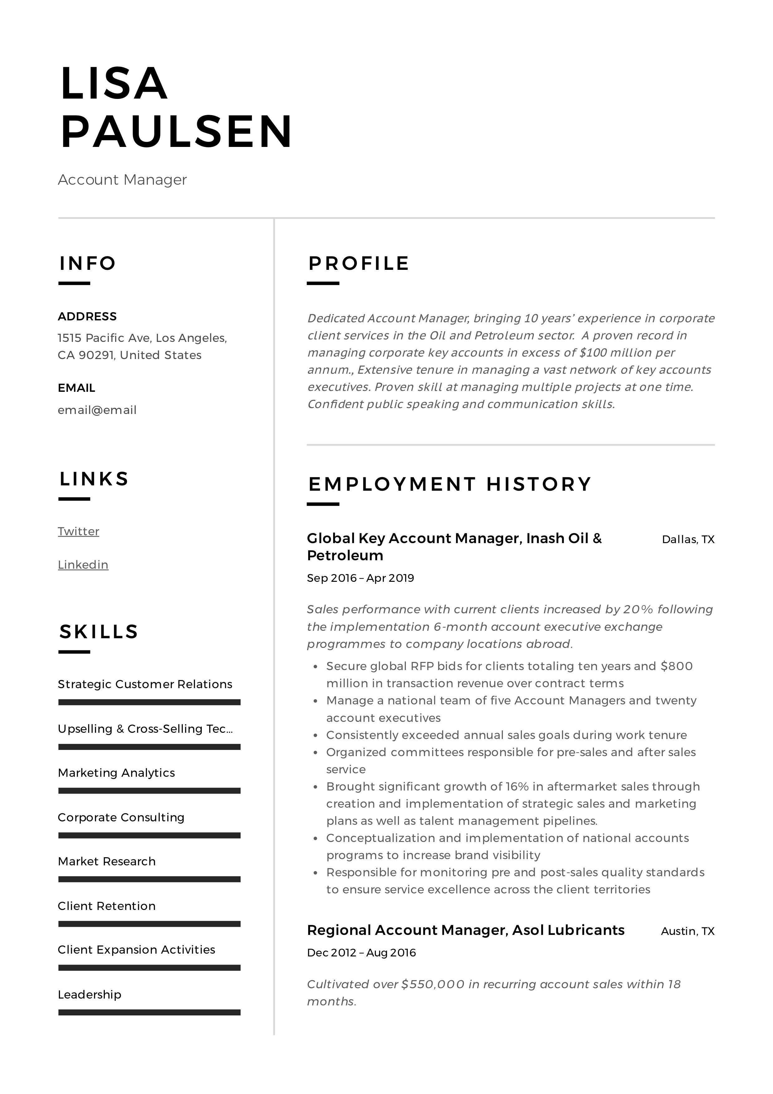 Account Manager Resume Template Manager Resume Management Guided Writing
