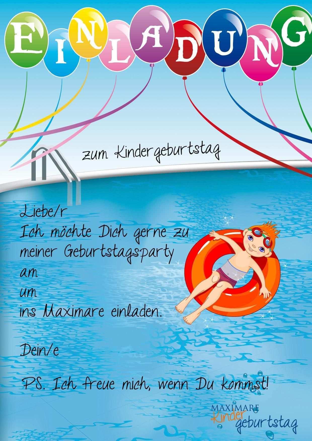 Einladung Kindergeburtstag Schwimmen Basteln Einladung Kindergeburtstag Einladung Geburtstag Einladungskarten Kindergeburtstag Zum Ausdrucken