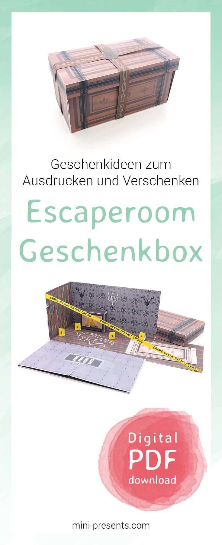 Mini Presents Do It Yourself Escape Room Geschenkbox Als Gutschein Ausdrucken Basteln Schenke Gluckliche Momente Originelle Diy Papiergeschenke Zum Ausdr In 2020 Escape Room Diy Escape Gift Diy Event
