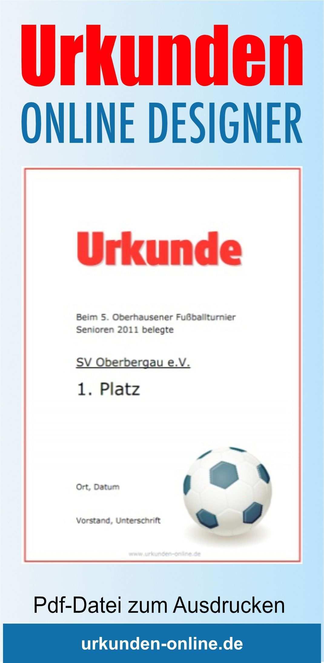 Fussballurkunden Online Gestalten Und Drucken Urkunde Vorlage Urkunde Online